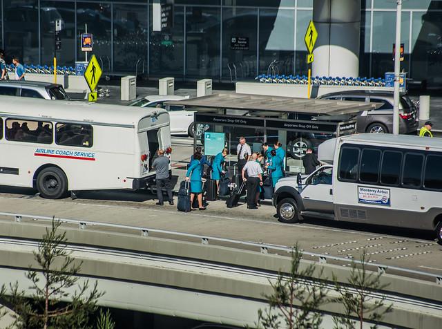 aer lingus crew arrives for the return to dublin