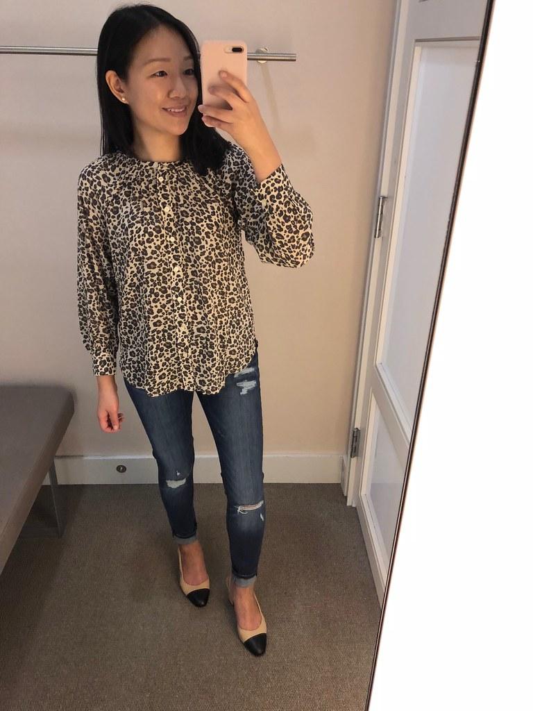 LOFT Leopard Print Blouse, size XSP