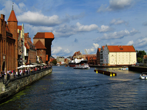 view of Old Harbor on the Motława River in Gdansk