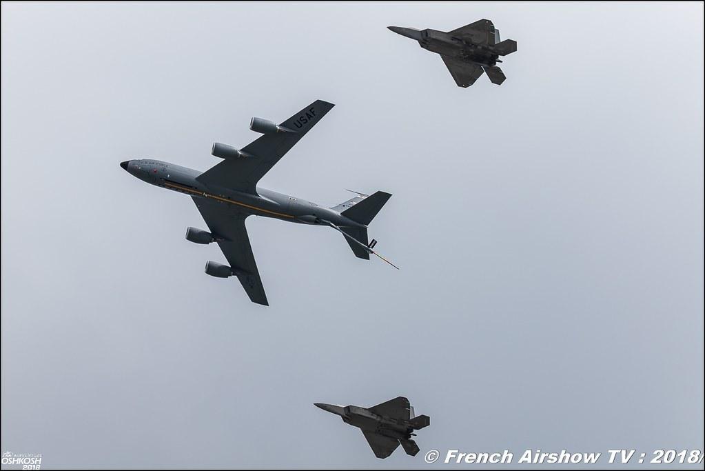 F-22 Raptor USAF and KC-135 stratotanker Review eaa oshkosh airventure airshow meeting aerien