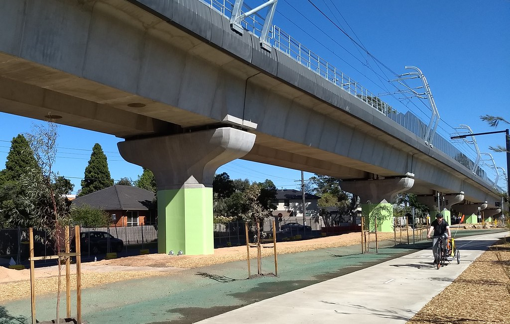 Underneath the skyrail near Grange Road, Caulfield
