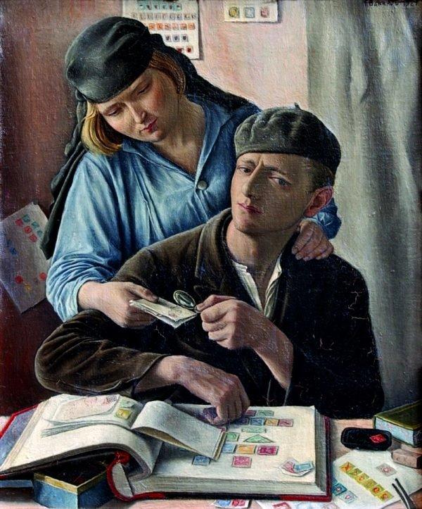 Le Philateliste, oil on canvas painting by François Barraud, 1929.