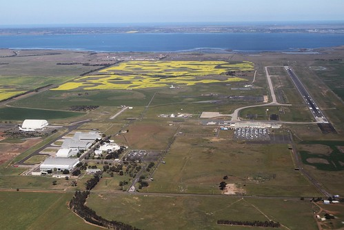 Looking down on Avalon Airport from the north