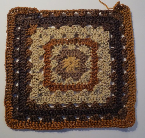 Brown Crocheted Grannies Center