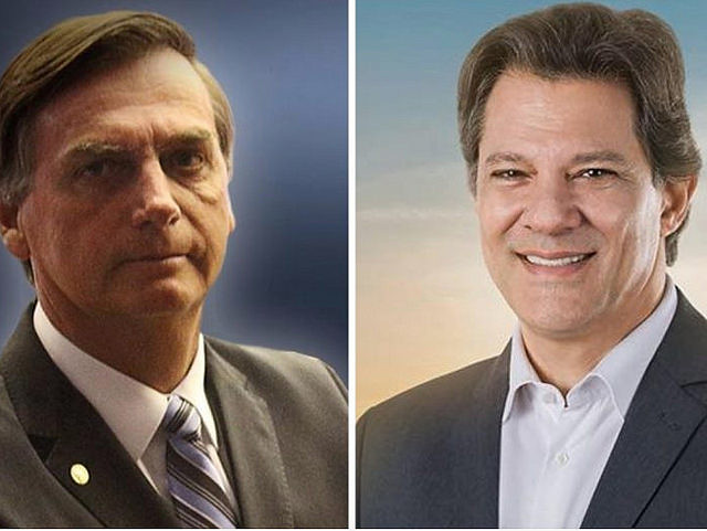 Far-right Jair Bolsonaro (left) and left-wing presidential hopeful Fernando Haddad will battle in runoff vote on Oct. 28 - Créditos: Handout