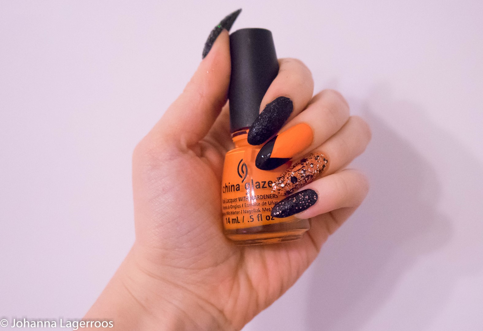 orange and black nails