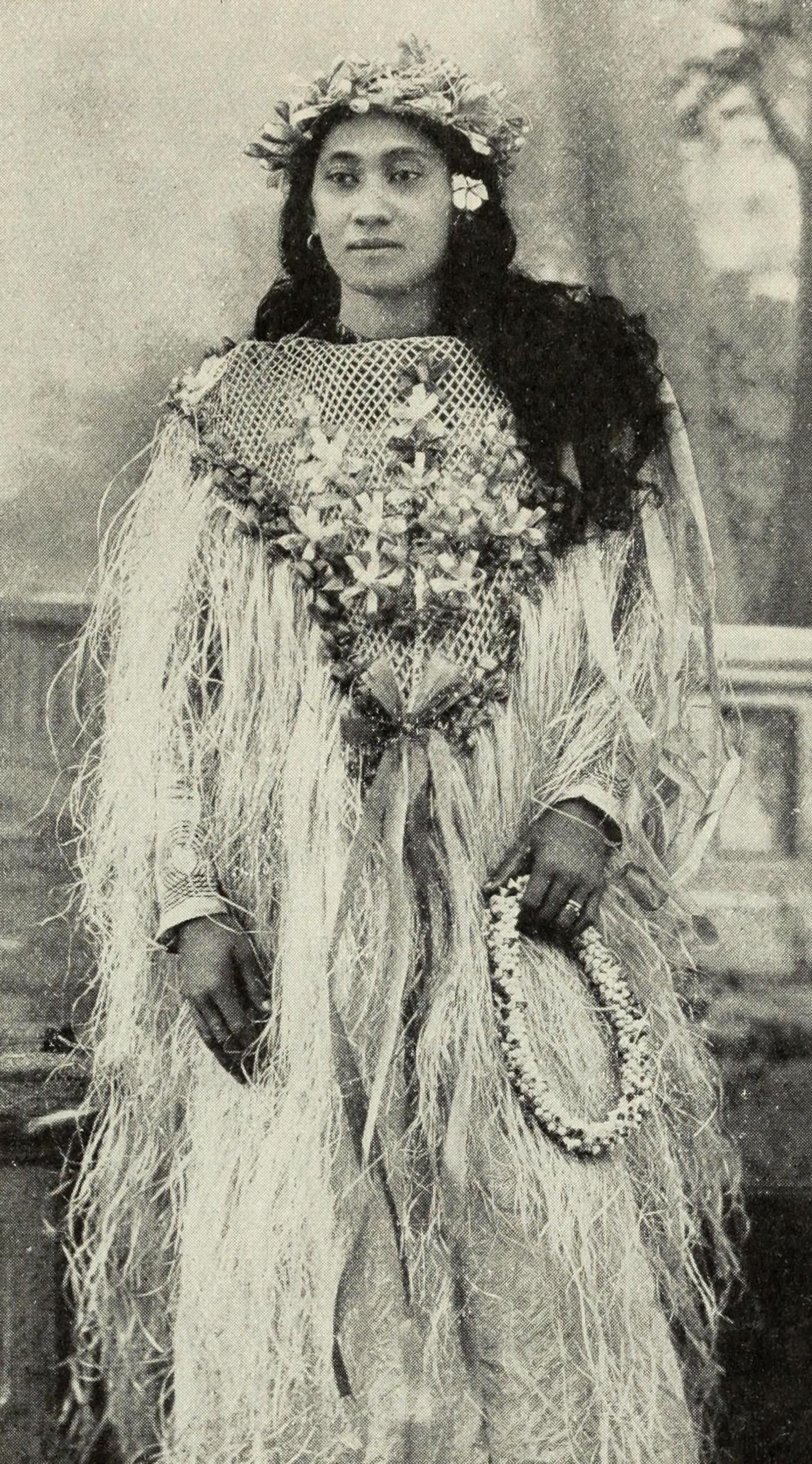 Tahitian woman in festive costume, circa 1906.
