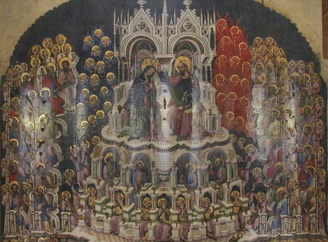 Incoronazione della Vergine in Paradioso e committente, Maestro di Ceneda, 1439-1484