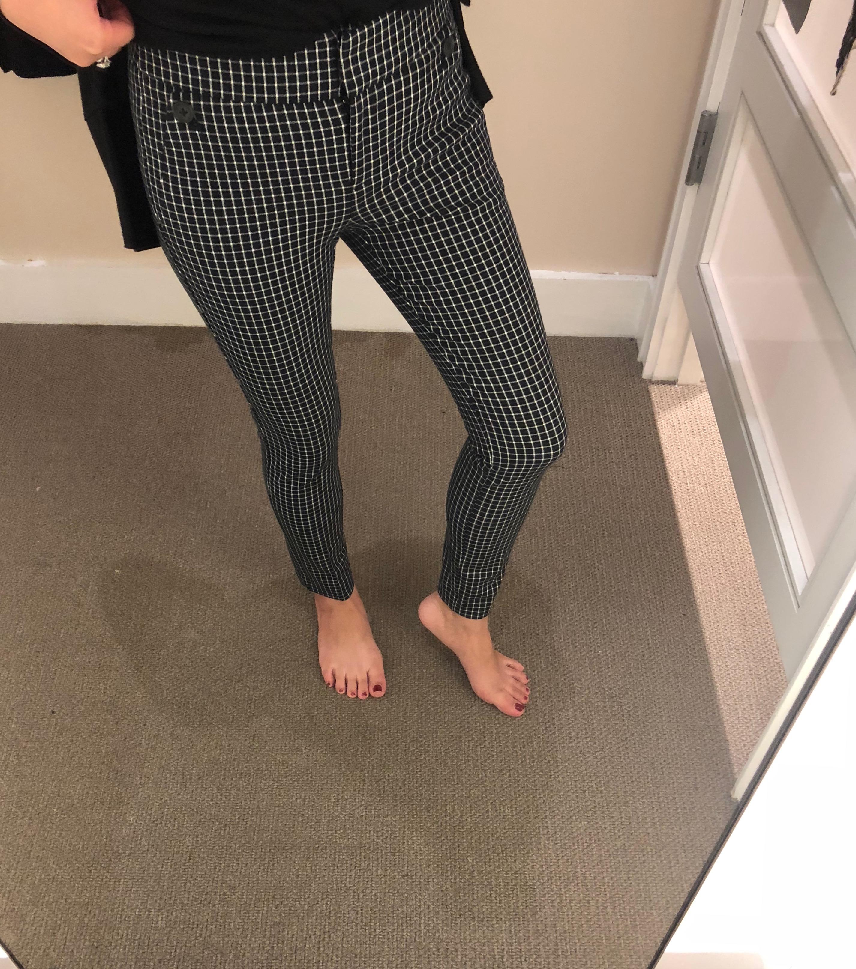LOFT Skinny Button Plaid Pants in Marisa Fit, size 0P