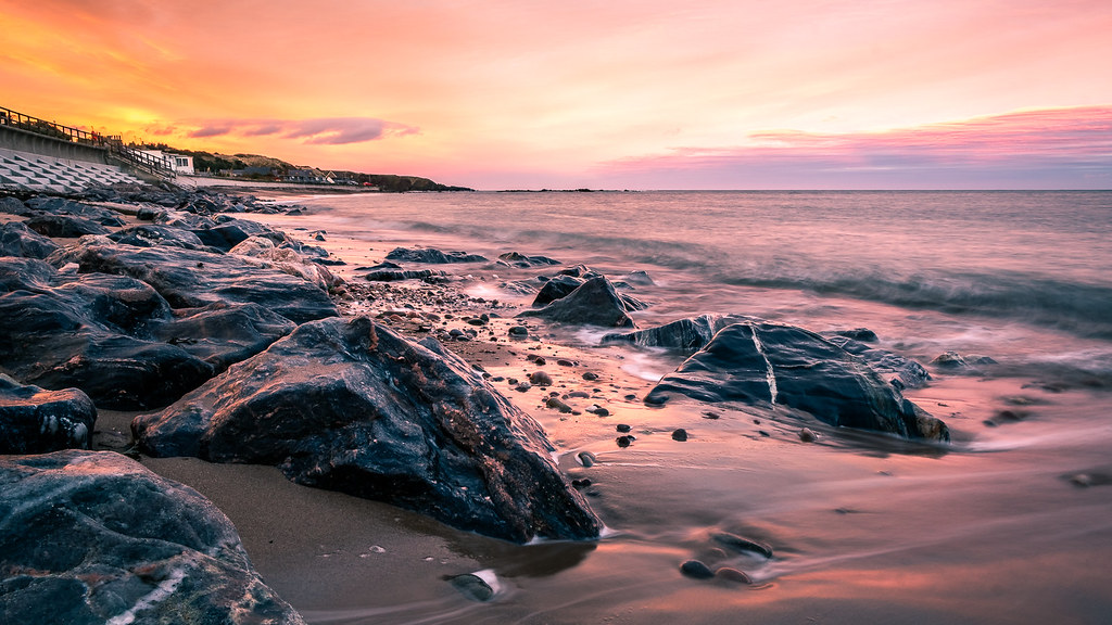 Sunset on the beach, Stonehaven, Scotland picture