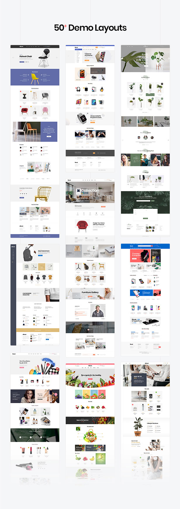50+ homepages for fashion & shoes, Watch,Food, Plant, Toys & Kids,Jewellery & Accessories, Lawn & Garden Tools, animal & pet, Pharmacy, Gym sport, Cosmetics, Furniture & Decor, Health & Beauty