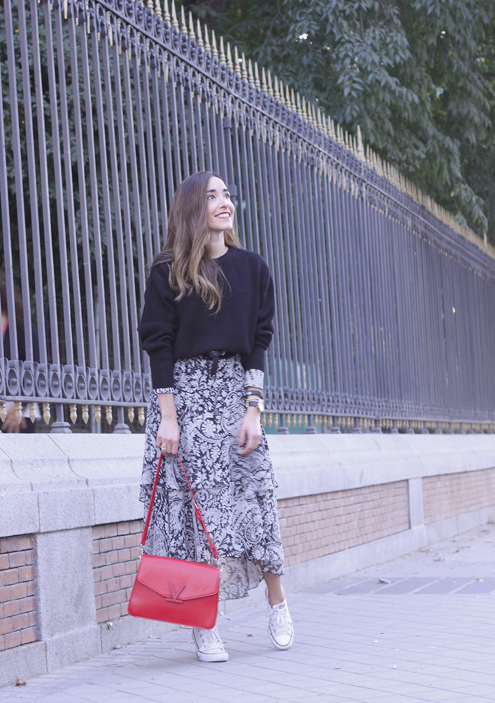 how to wear a midi dress with a sweater converse valentinobags street style casual outfit 20183236