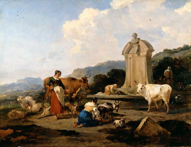 Nicolaes Pietersz Berchem - Roman Fountain with Cattle and Figures (c.1645)