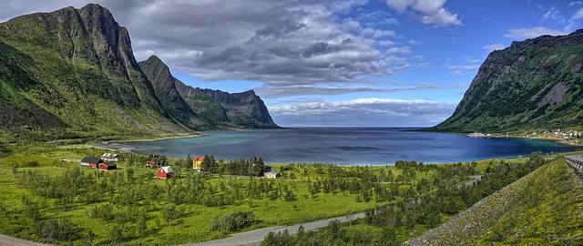 Small fjord on island of Senja - panorama