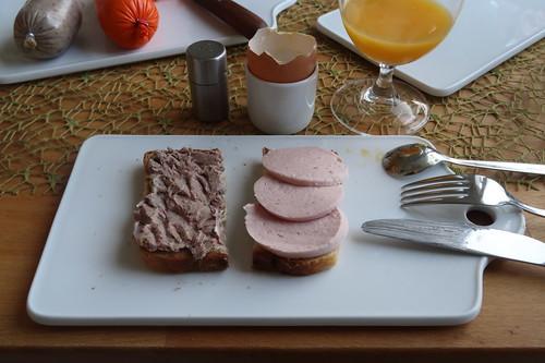 Leberwurst sowie Fleischwurst vom Bentheimer Landschwein auf Toast