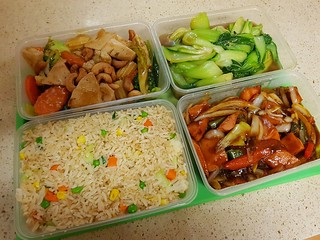 Chicken and Cashew, Chinese Greens, Mongolian Chicken, Fried Rice, from Michael's Oriental