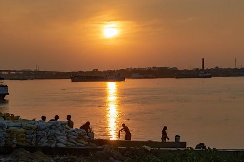 On the Ghat at Sundown - Hooghly River - Kolkata