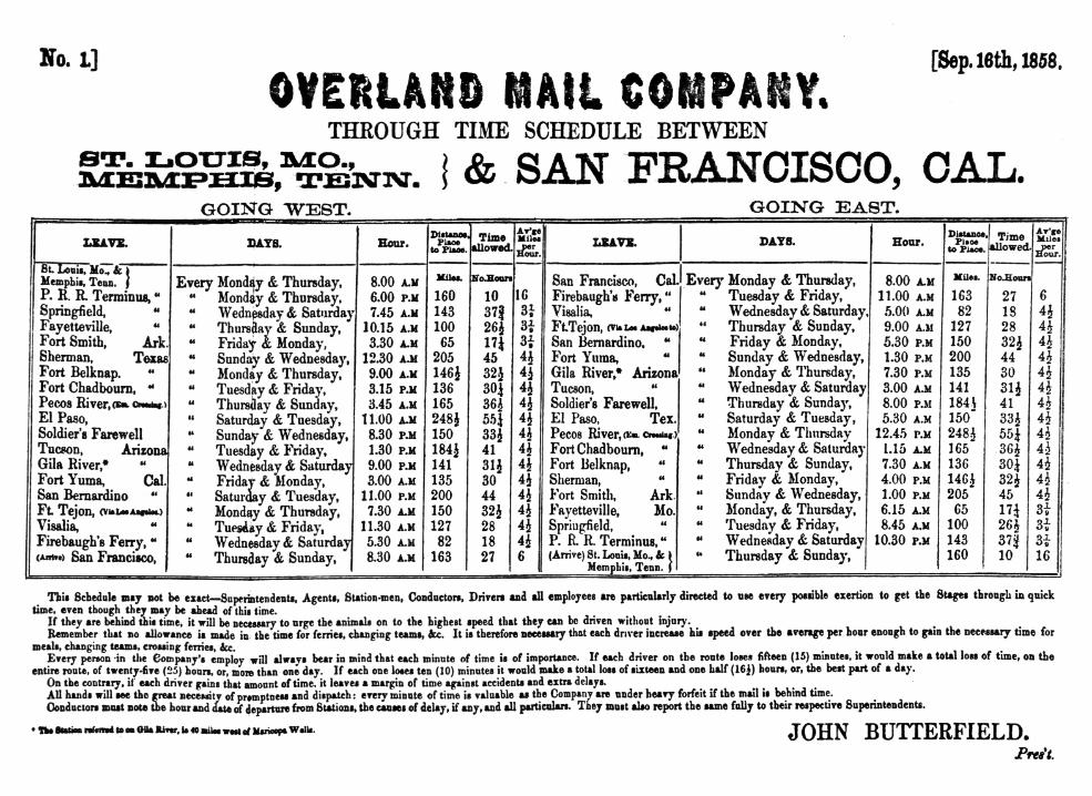 Timetable for the Overland Mail Company's eastbound and westbound routes published in September 1858.