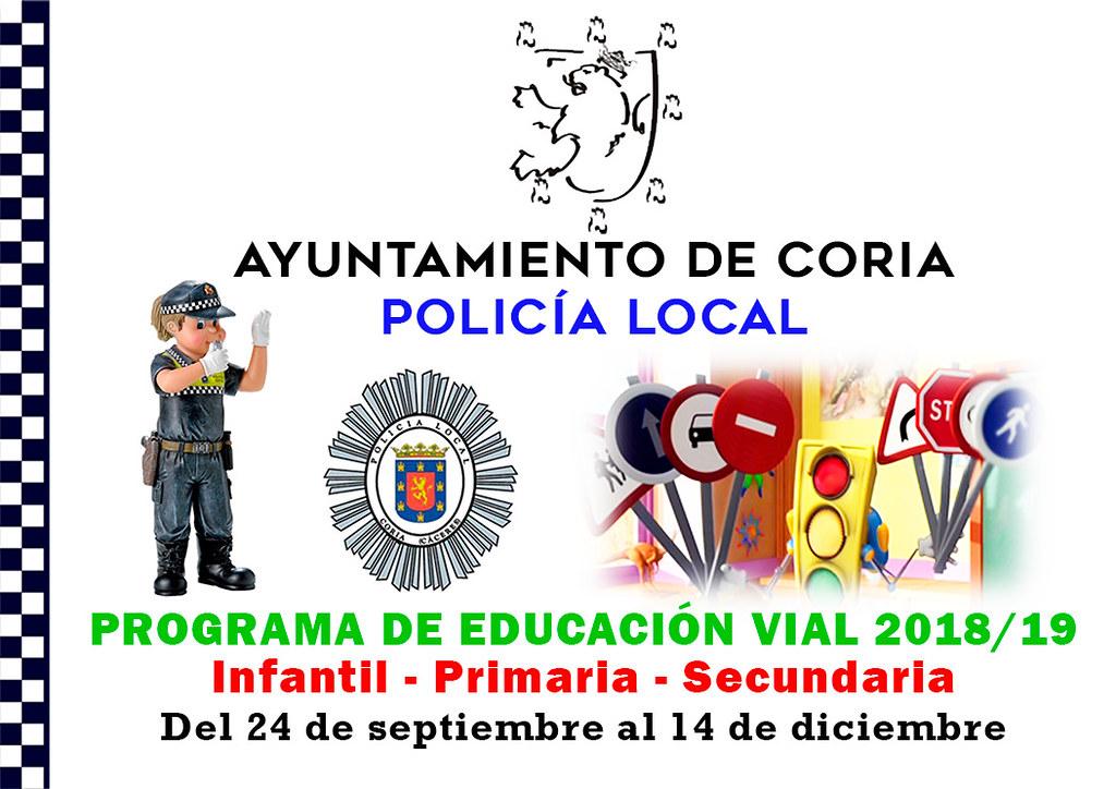 La Policía Local de Coria pone en marcha, un año más, el Programa de Educación Vial en los Centros Escolares de Coria, Rincón del Obispo y Puebla de Argeme