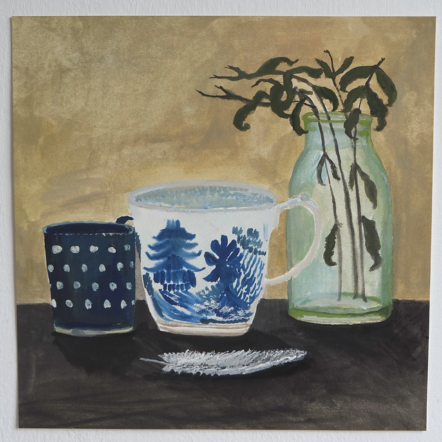 still life with pagoda cup and drying verbena leaves