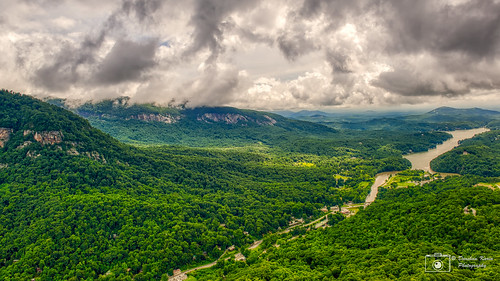 broadriver chimneyrock clouds mountains nc park river trees water hdr