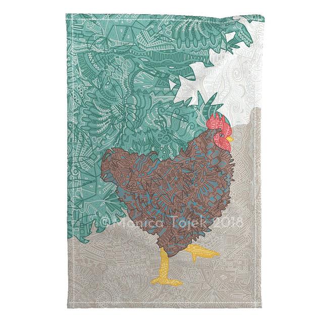 chicken lalala tea towel mockup