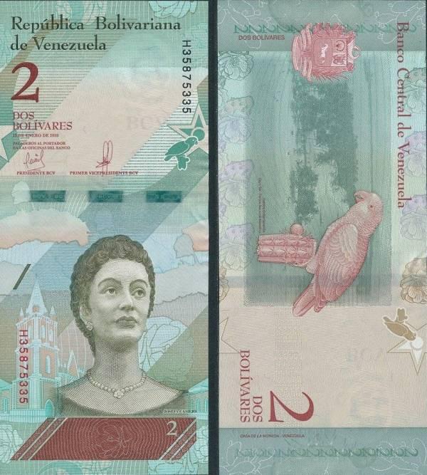 2 Bolívares Venezuela 2018, P101a
