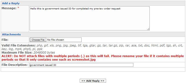 Format pengiriman goverment id