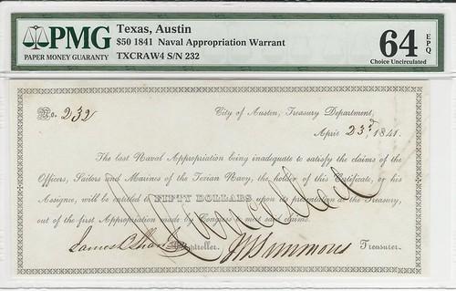 Texian Navy scrip SN 232 50 face
