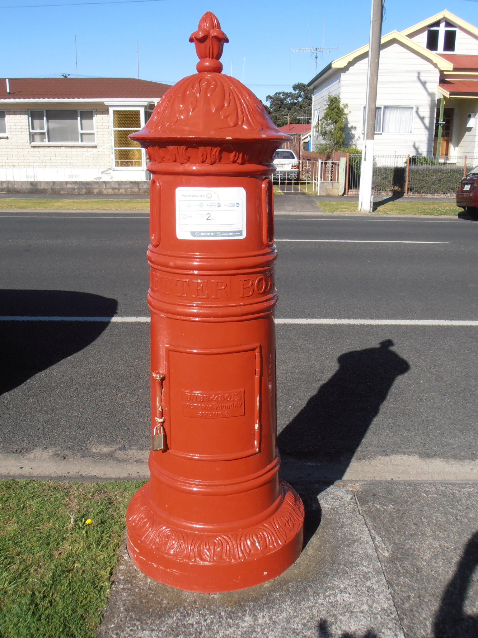 Historic cast iron post box at Thames, New Zealand. Photo taken on December 10, 2012.