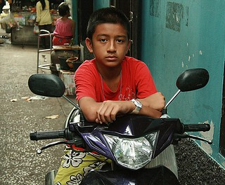 boy on a motorcycle