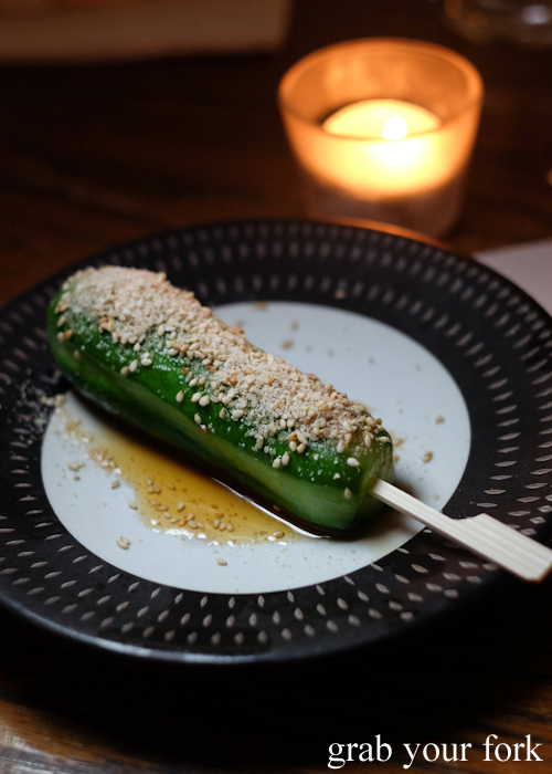 Marinated cucumber stick at Gogyo by Ippudo in Surry Hills Sydney