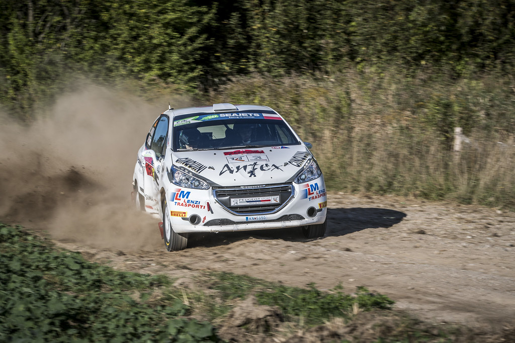 34 KUDRYAVTSEV Alexander (RUS), KORSIA Volodymir (UKR), ALM MOTORSPORT, Peugeot 208 R2, action during the 2018 European Rally Championship PZM Rally Poland at Mikolajki from September  21 to 23 - Photo Gregory Lenormand / DPPI