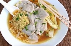 Pork Dumplings, Ramen Noodles And Nappa Cabbage in Garlicky Pork Broth