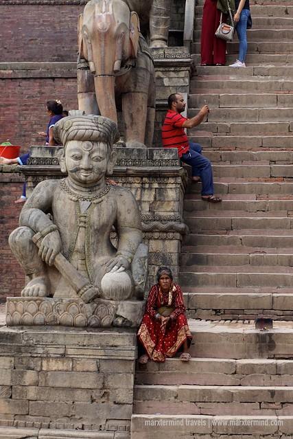 Old lady at Nyatopala Temple Bhaktapur