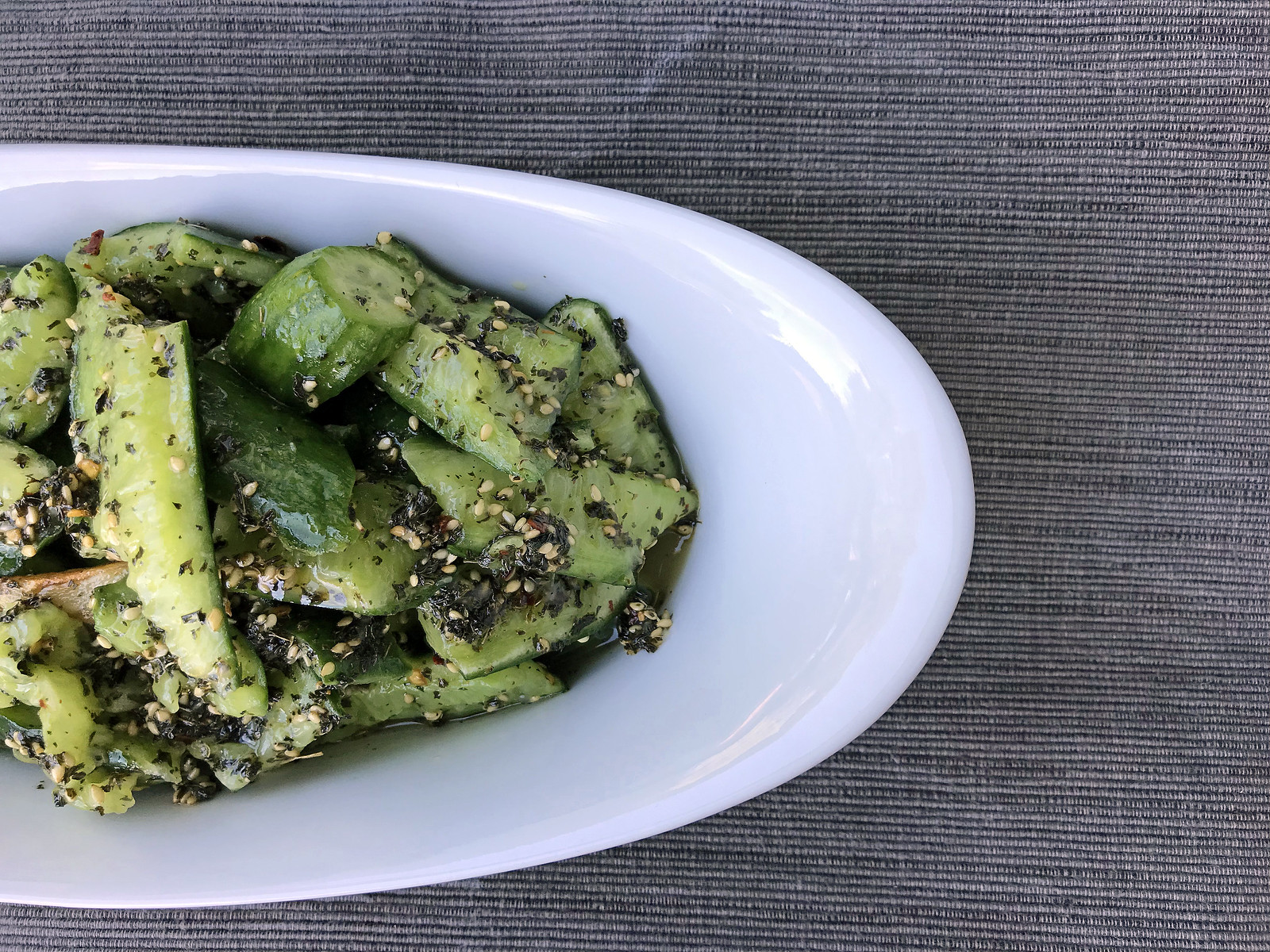Smashed cucumber salad with dried mint
