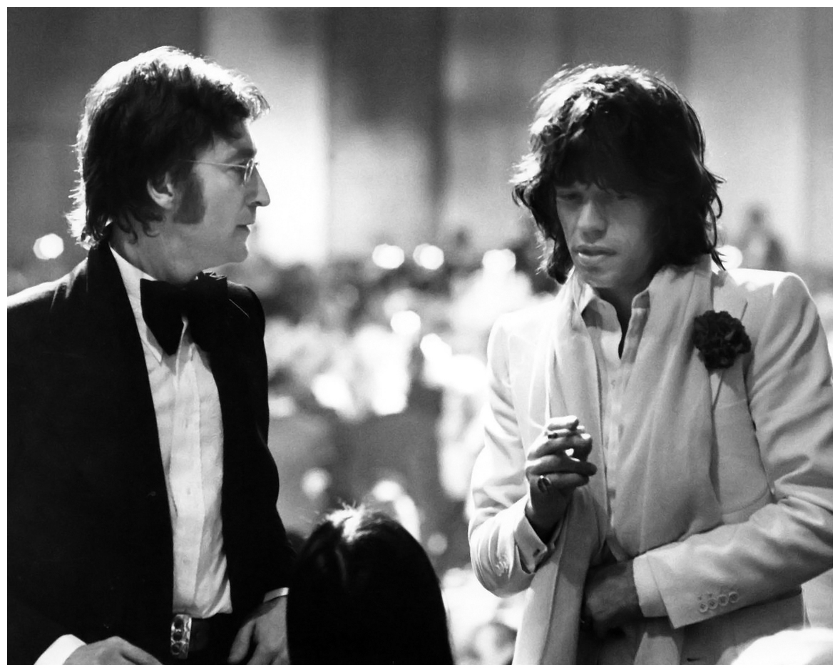 John Lennon and Mick Jagger at the Century Plaza Hotel, Los Angeles, 1974, during the American Film Institute's Salute to James Cagney