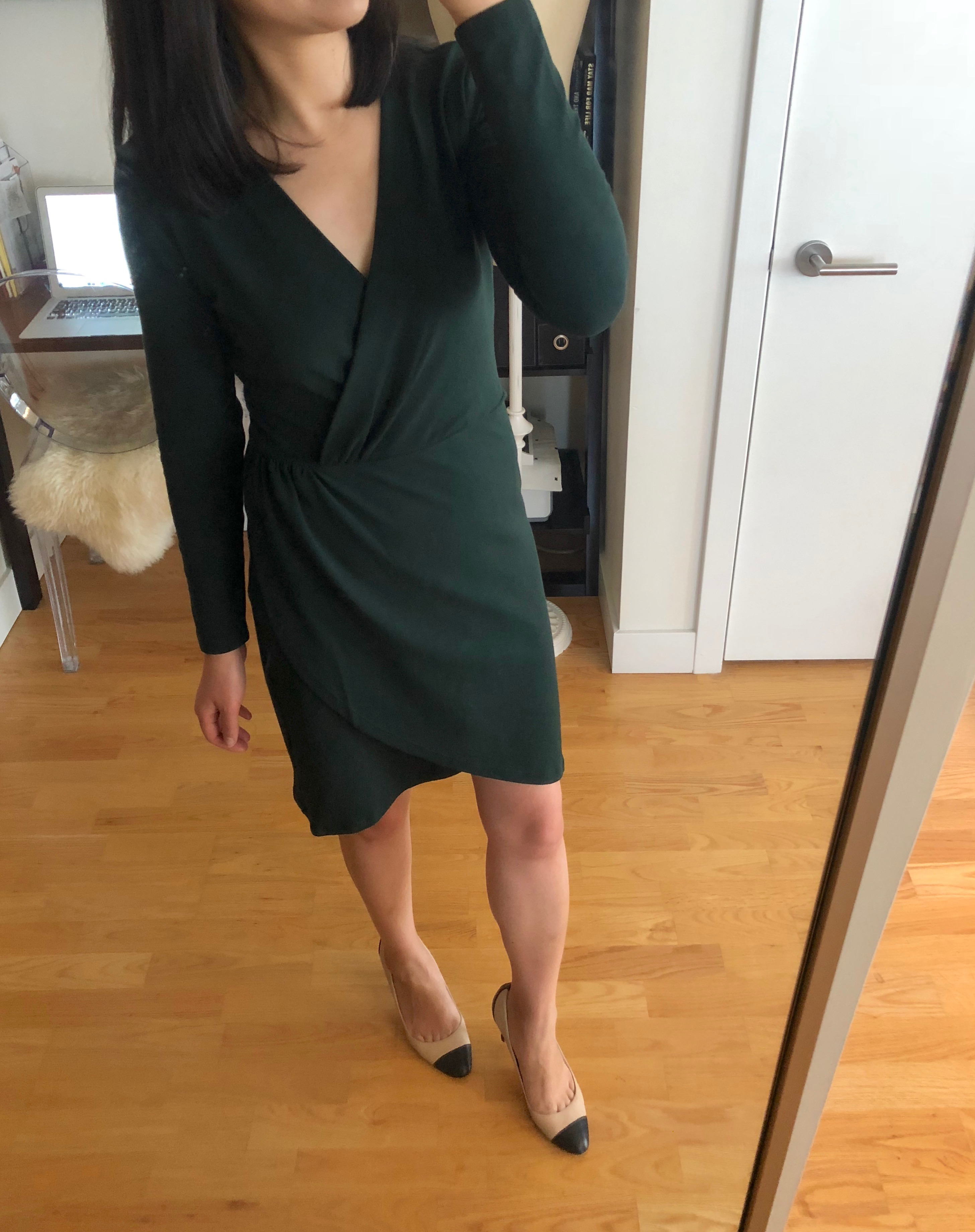 LOFT Shirred Wrap Dress, size 0P