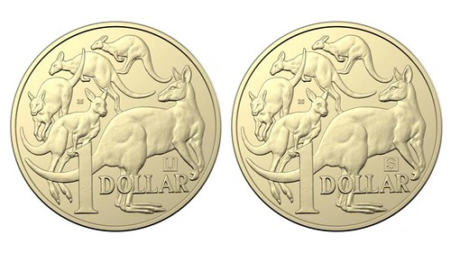 Australian dollar coins with treasure hunt marks