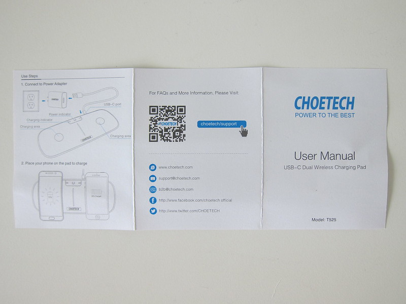 Choetech Dual Wireless Charging Pad - Instructions