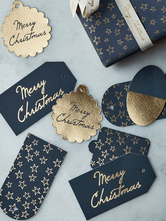Cox & Cox Blue & Gold Gift Tags