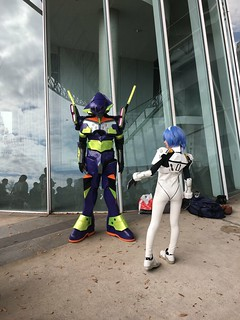 2018 Tokyo Game Show Evangelion Ayanami Rei and mech cosplay