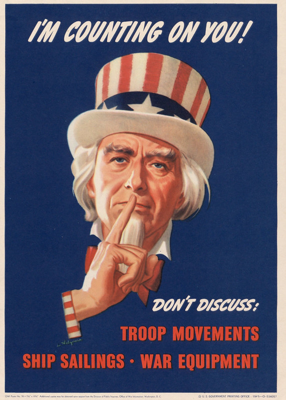 I'm counting on you! - don't discuss - troop movements ship sailings war equipment (1943) - Leon Helguera (1899-1970)