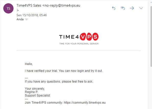 akun TIME4VPS aktif