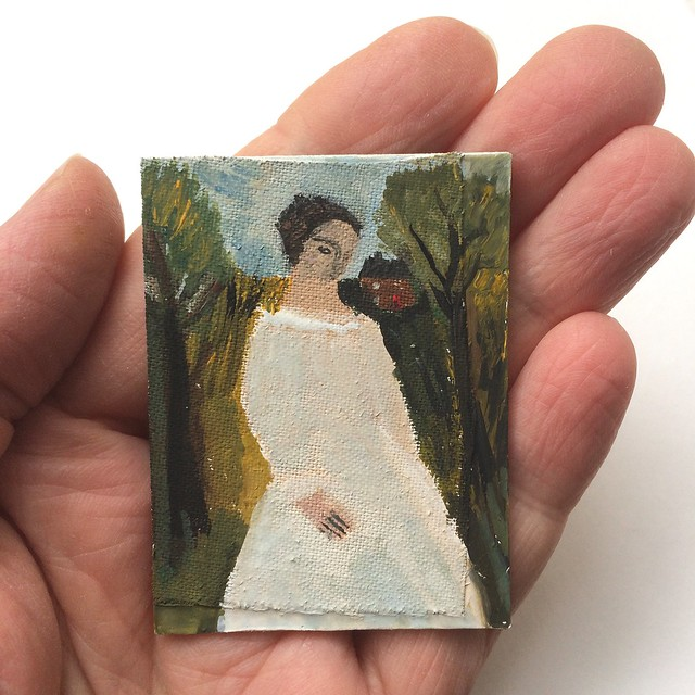 Pale dressed figure in a landscape (tiny)