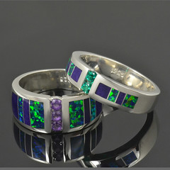 Sugilite and lab created opal rings in sterling silver