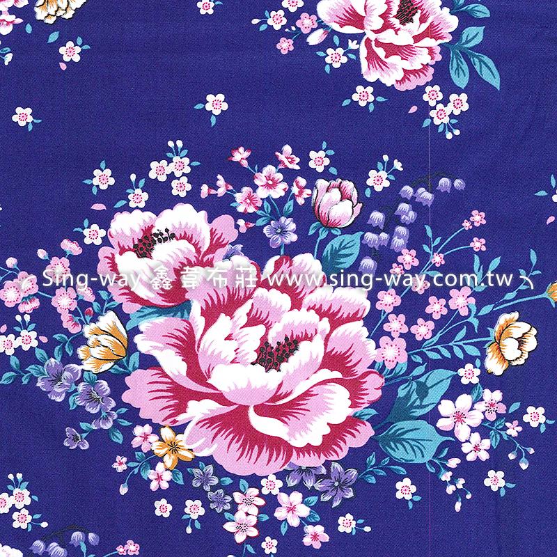 牡丹花团锦簇 繁花 复古怀旧花卉 客家花布 台湾花布