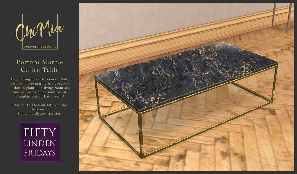 ChiMia - Portoro Marble Coffee Table for FLF - TeleportHub.com Live!