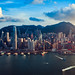 Hong Kong city aerial view with urban skyscrapers, View from Sky100, Hong Kong