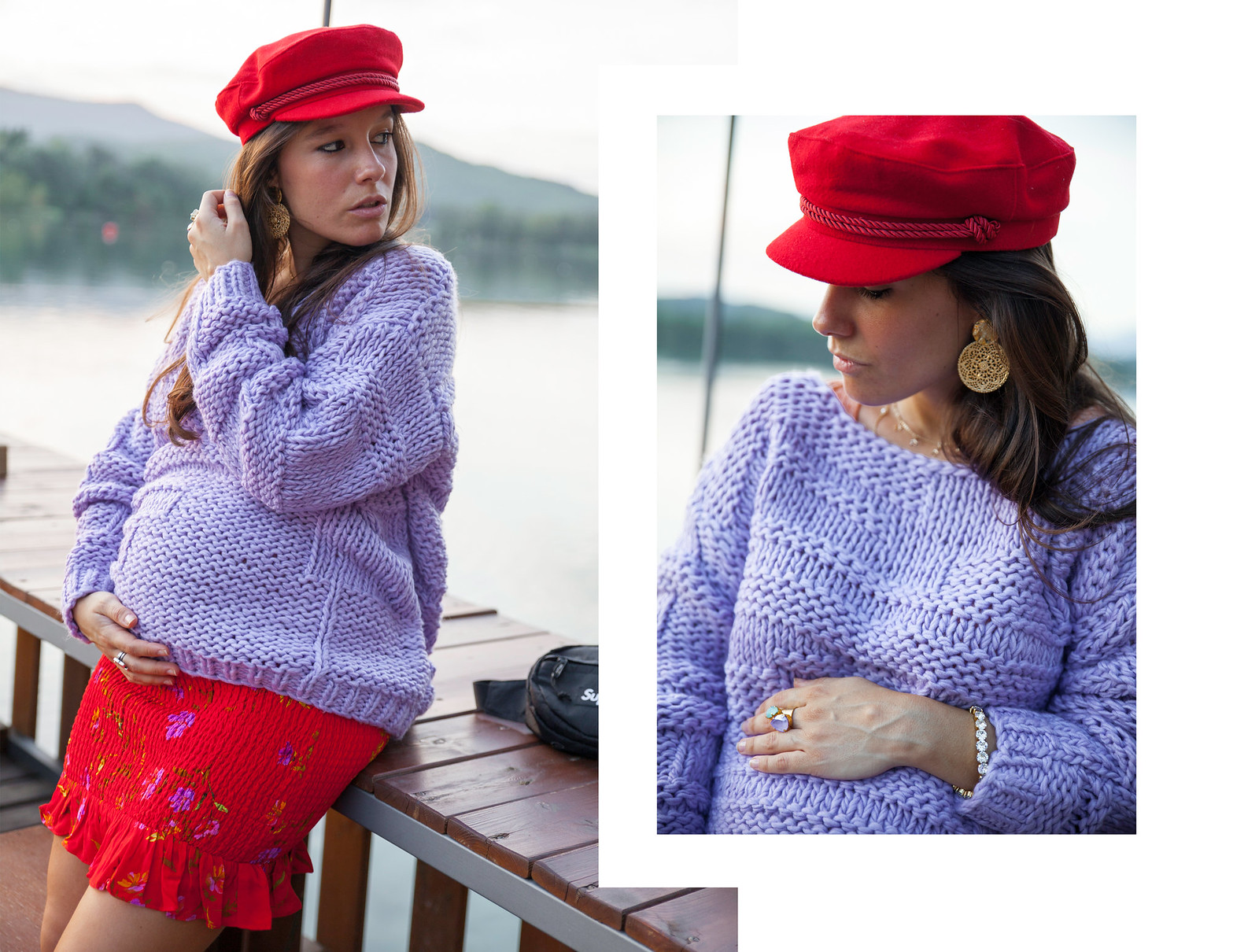 05_Como_combinar_un_jersey_lila_revolve_theguestgirl_falda_roja_pregnant_embarazada_barcelona